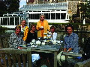 From left: Sheri Wilson, Anya Schandler, Polly Stark, Danette Lawrie, Susan Gagne and Juliette Romano enjoy tea at the Rhinefield House Hotel.