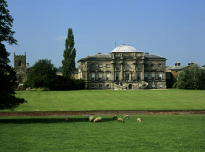 The historic Derbyshire home of the Curzon family, south front, at Kedleston Hall, Derbyshire
