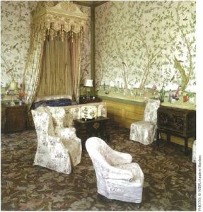 The interior of the Chinese Bedroom at Belton House, c. 1840.