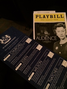The Playbill and a helpful guide of the Queen's PMs.