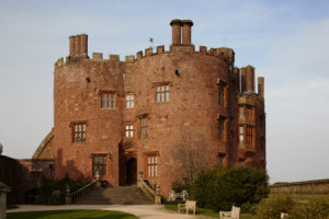The drum towers of Powis Castle, Powys, Wales.