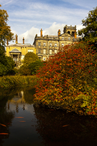 The house from The Lake in autumn at Biddulph Grange Garden, Staffordshire. Image shows property that is privately owned.