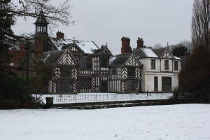 A snow-covered Wythenshawe Hall, Manchester, courtesy of The Manchester City Council