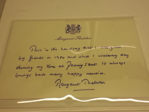 A note from Thatcher explaining her gift and her deep personal connection to the bag on display.