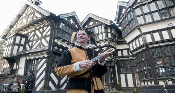 Meet  Little Moreton Hall's Tudor jester at the Hall's Yuletide celebrations! c Emma Williams & National Trust