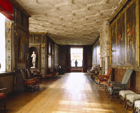 The Cartoon Gallery at Knole. The room takes its name from a set of six large copies of Raphael's cartoons. The decoration of the gallery was carried out by the 1rst Earl Thomas Sackville.