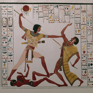 King Rameses II tramples and slays Libyan,  from the Egyptian exhibition at Kingston Lacy.