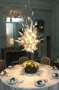 Chandelier blue dining room