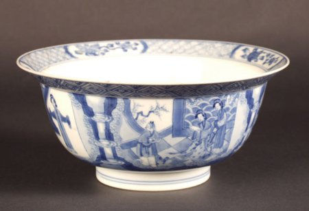 Chinese porcelain bowl with everted rim, Kangxi period (1662-1722), decorated in blue and white with scenes from The Romance of the West Chamber, at Polesden Lacey, NT 1245606, ©National Trust/Andrew Fetherston