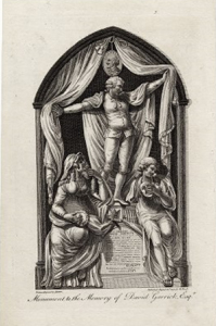 An engraving of Garrick's monument in Westminster Abbey. Picture from the Folger Shakespeare Library.