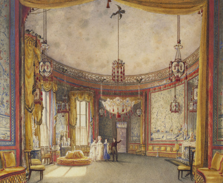 The Saloon at the Royal Pavilion, Brighton, with the Chinese bird-and-flower wallpaper on a cream ground that hung there between 1816 and 1822. After Augustus Charles Pugin, Royal Collection, RCIN 918161. Royal Collection Trust/© Her Majesty Queen Elizabeth II 2016