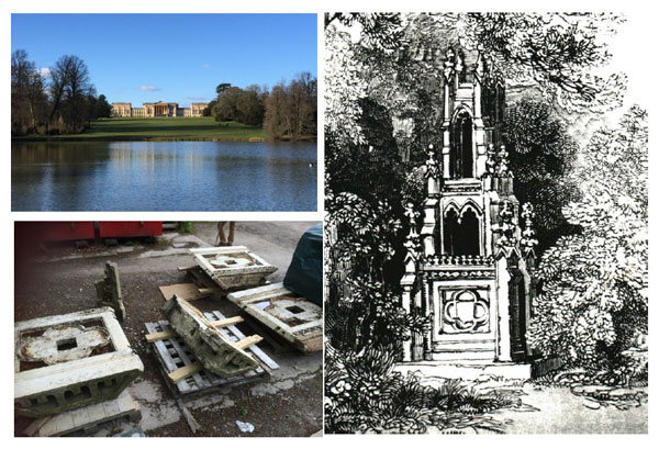 Top left: Stowe today, photograph © Oliver Cox. Bottom left: Parts of the cross that survive, photograph © National Trust. Right: An artist's impression of the Gothic Cross, published in the 1827 guide to Stowe.