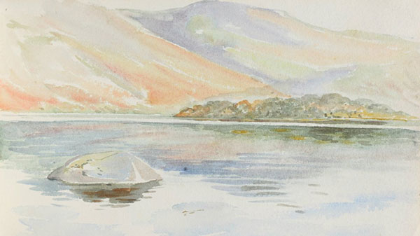 View of Derwentwater from the Squirrel Nutkin sketchbook. The ink, pencil and watercolour studies in this 1901 sketchbook provided background scenery for the 1903 publication / NT 242740