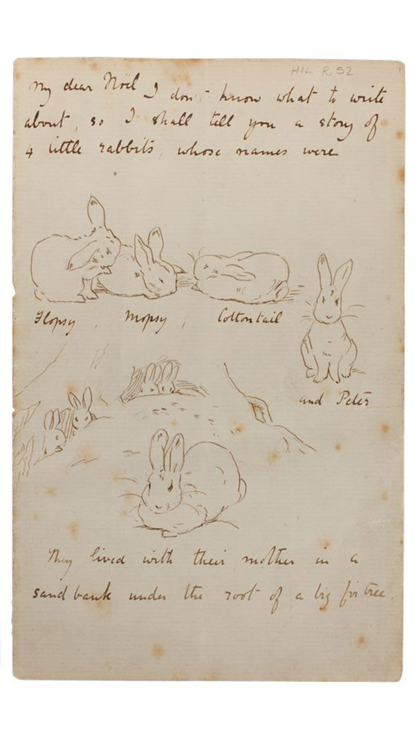 Beatrix Potter's copy of her 1893 letter to Noel Moore: 'I don't know what to write about so I shall tell you a story of 4 little rabbits, whose names were Flopsy, Mopsy, Cottontail and Peter' / NT 242253
