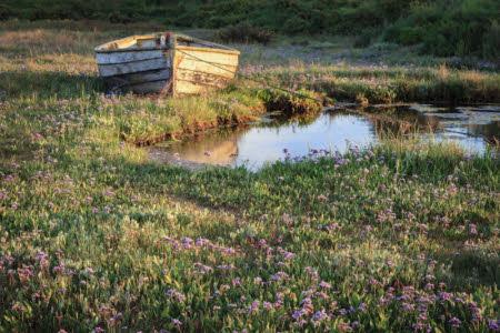 A moored dinghy boat on the salt-marsh at Brancaster Estate, Norfolk. ©National Trust Images/Justin Minns