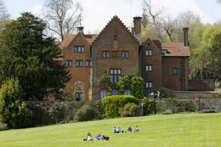 Visitors on the lawn outside Chartwell, Kent.  National Trust