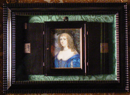 The Hoskins portrait of Catherine Murray (née Bruce), in its original ebony case,  as it is currently displayed at Ham House.
