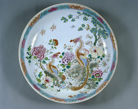 Chinese porcelain dish decorated with phoenixes and peonies, about 1750, one of a pair, at Melford Hall, NT 926292. ©National Trust Images/John Hammond