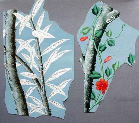 Two fragments of Chinese wallpaper found at Kingston Lacy. NT 1257039 ©National Trust/Simon Harris