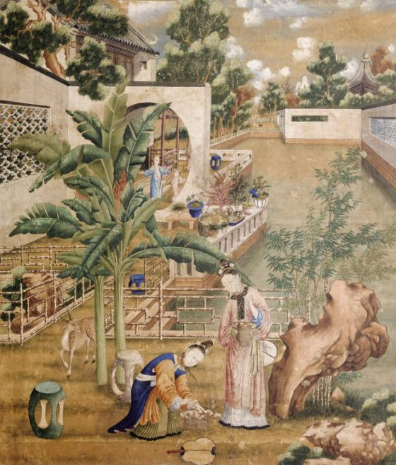Chinese painting on paper depicting female figures in a garden, used as wallpaper in the Study at Saltram, mid eighteenth century, NT 873000. ©National Trust Images/John Hammond
