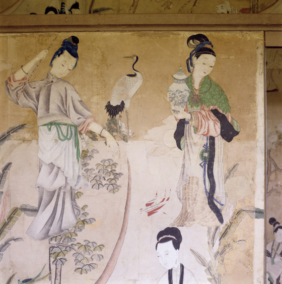 Chinese woodblock prints of female figures pasted onto a partition in the Chinese dressing room at Saltram, NT 872998. ©National Trust Images/Andreas von Einsiedel
