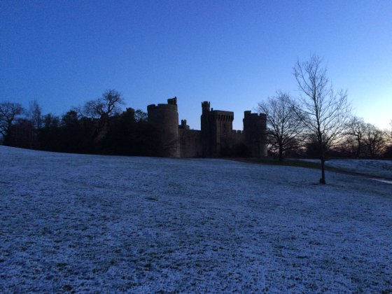 KENT: A moat and high walls proved good defences against the snow for Bodiam Castle and Ightham Mote. Credit: Janet Gardiner / National Trust.