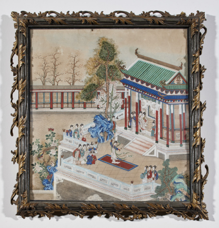 Chinese painting on paper depicting a dance performance on a terrace outside a pavilion with ladies and their attendants watching. One of a set of One of a set of six Chinese paintings on paper, probably mid eighteenth century, at Shugborough Hall, Staffordshire, NT 1271100.4. ©National Trust Images/Paul Highhnam