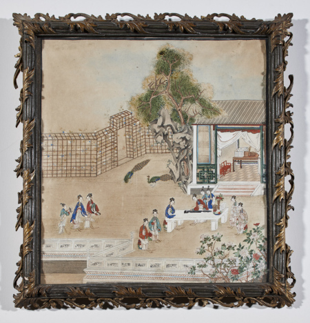 Chinese painting on paper depicting a lady playing a qin or seven-stringed zither in front of a pavilion, with other ladies listening and a pair of peacocks and trellis at left, probably mid eighteenth century, at Shugborough Hall, Staffordshire, NT 1271100.5. ©National Trust Images/Paul Highhnam