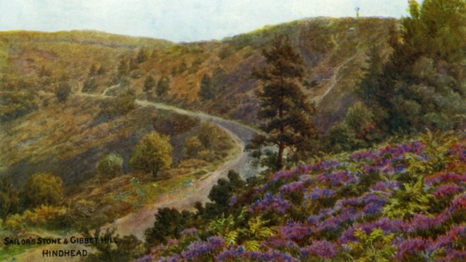 A painting of the Sailor's Stone and Gibbet Hill at Hindhead, by A R Quinton (1853-1934)