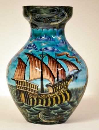 Galleon Vase by William De Morgan, De Morgan Collection, courtesy of the De Morgan Foundation