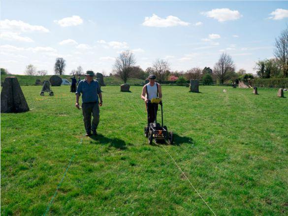 Radar in action: The Ground-Penetrating Radar survey underway (featuring Dom Barker & Kris Strutt of the University of Southampton).