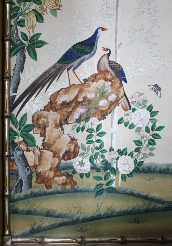 A pair of pheasants in the wallpaper in the Bamboo Bedroom. The fillet was probably silvered in about 1930. © National Trust Images/Paul Highnam