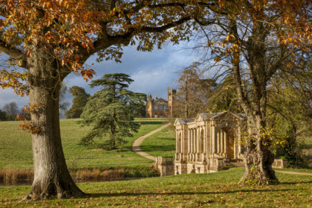 The Palladian Bridge and Gothic Temple at Stowe, Buckinghamshire.
