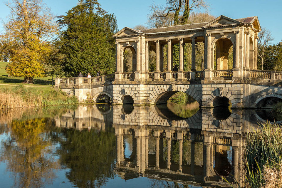 The Palladian Bridge in autumn at Stowe, Buckinghamshire ©National Trust Images/Hugh Mothersole