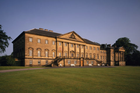 The imposing east front of the Nostell Priory, with the sun highlighting the honey coloured stone. ©National Trust Images/Matthew Antrobus
