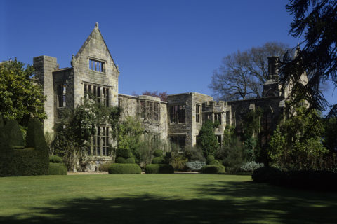 The south front of the ruins of Nymans Gardens, West Sussex, in late spring