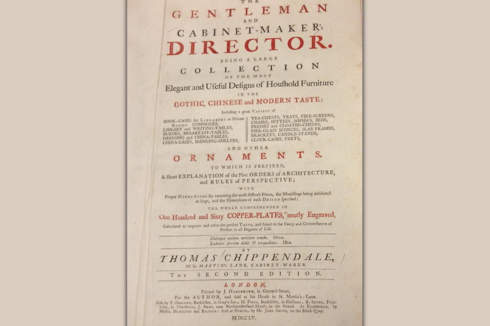 Title page of 1755 edition of Chippendale's The Gentleman and Cabinet-Maker's Director