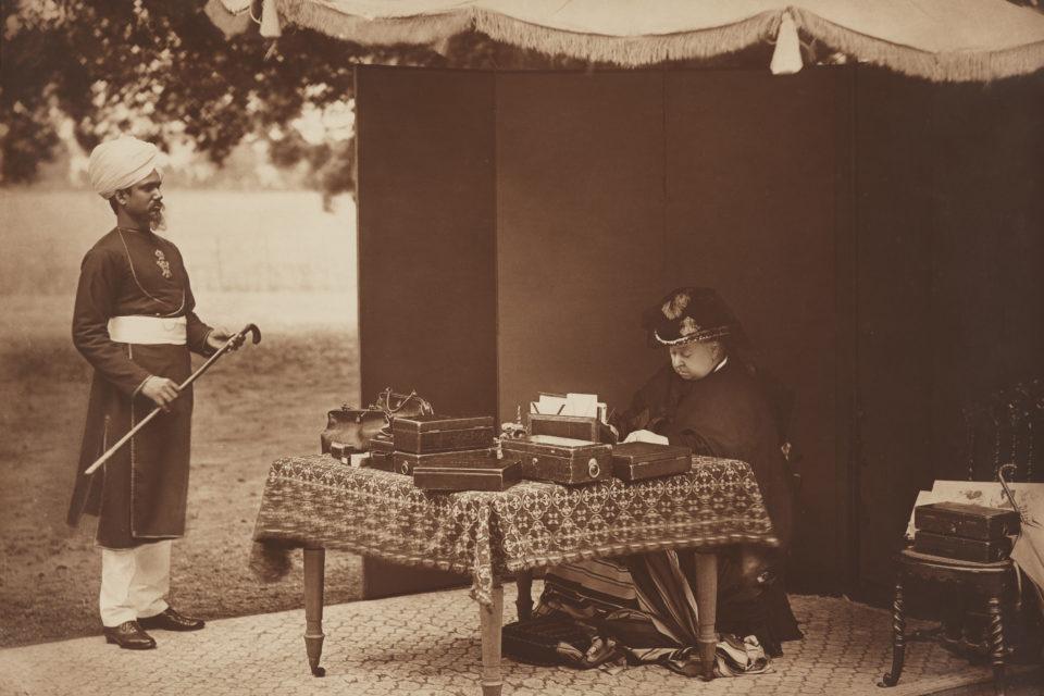 Sheikh Chidda, Abdule Karim and Queen Victoria, Hills & Saunders, 17 July 1893; © National Portrait Gallery, London