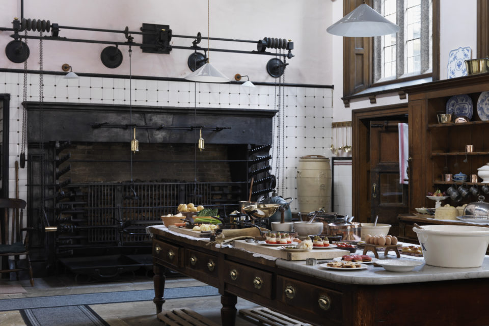 The Kitchen looking towards the roasting spits and fire at Lanhydrock, Cornwall ©National Trust Images Andreas von Einsiedel