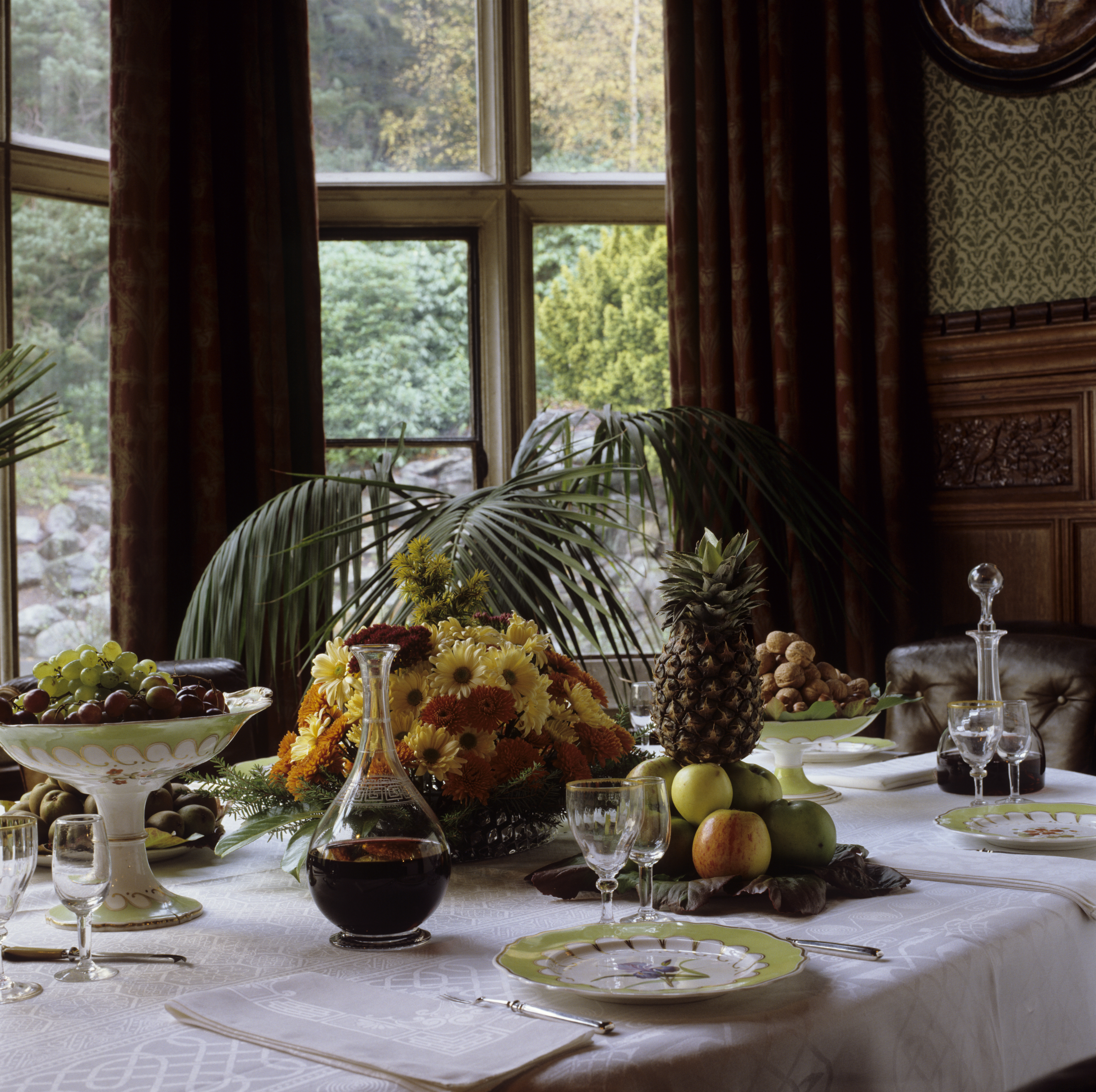 The dining table at Cragside, set for a dessert course with fruit and cheese ©National Trust Images Andreas von Einsiedel