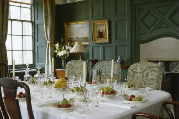 The Dining Room, looking over the table, set for dessert, at Standen, West Sussex ©National Trust Images/Nadia Mackenzie