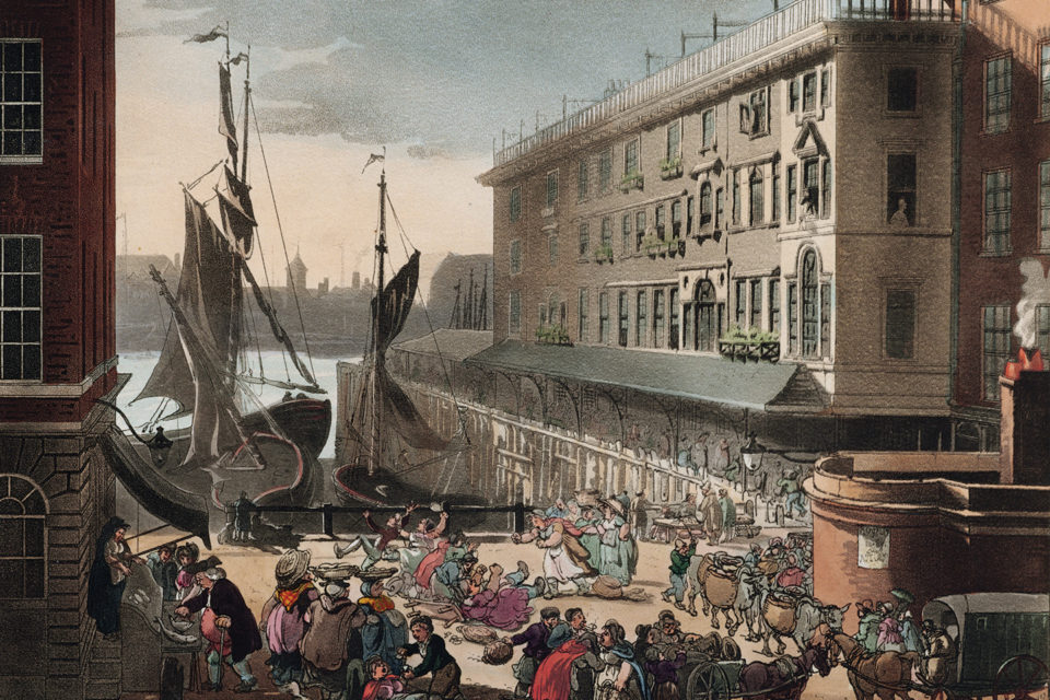 Billingsgate. Thomas Pennant, Some Account of London (1805), extra-illustrated copy. Houghton Library, Harvard University.
