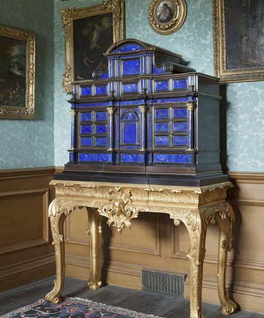 The lapis lazuli cabinet and associated, now believed to be nineteenth-century, giltwood stand at Belton House, Lincolnshire. © National Trust Images/Dennis Gilbert