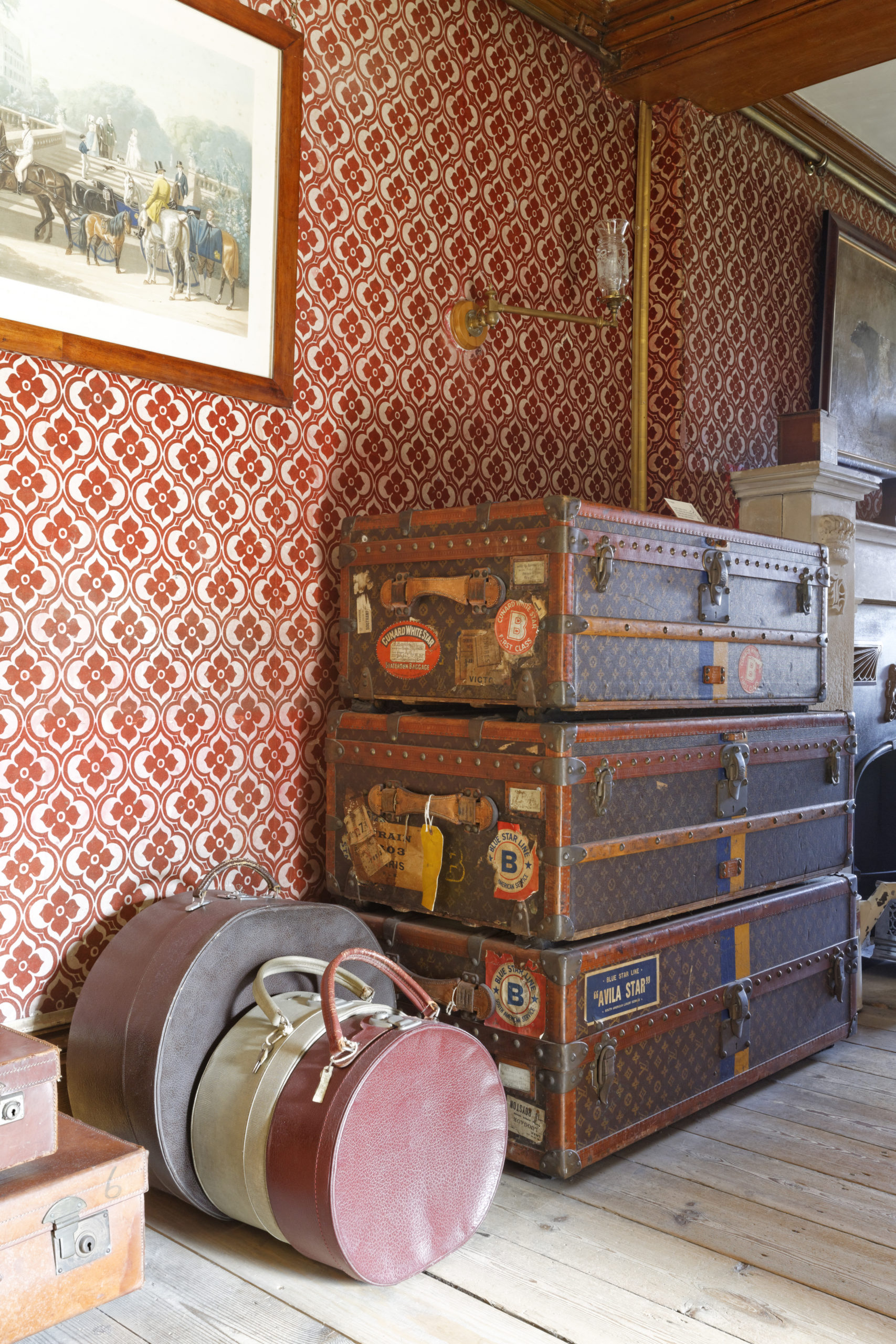 A stack of suitcases at Wimpole Hall, Cambridgeshire. ©National Trust Images Chris Lacey