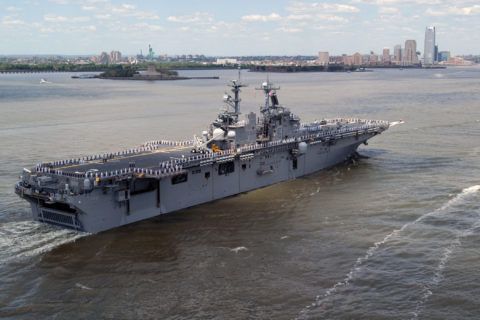 The USS Kearsarge entering the harbor for Fleet Week . U.S. Navy photo by Mass Communication Specialist 1st Class Aaron Glover