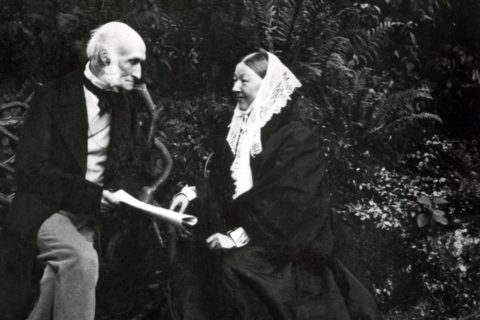 Florence Nightingale and Sir Harry Verney in 1880 in the grounds of Claydon, Buckinghamshire